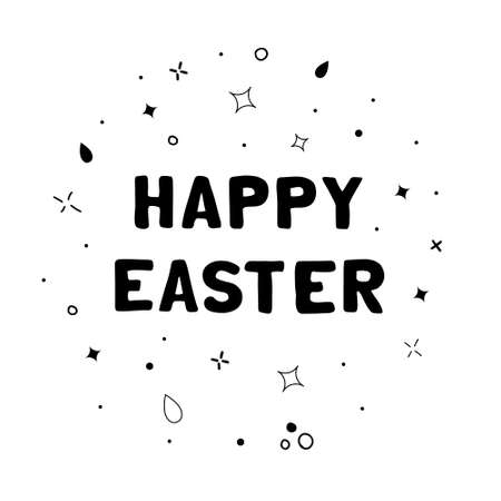 Vector hand drawn lettering illustration Happy Easter. Black text with random abstract objects in scandinavian style Vettoriali