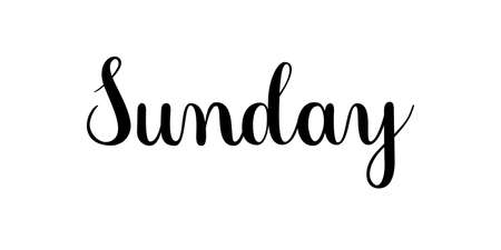 Handwritten Sunday. Vector text element isolated on white background. Calligraphy style hand drawn inscription.
