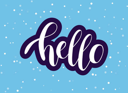Handwritten Hello phrase. White vector text with purple stroke on blue background. Modern brush calligraphy style.