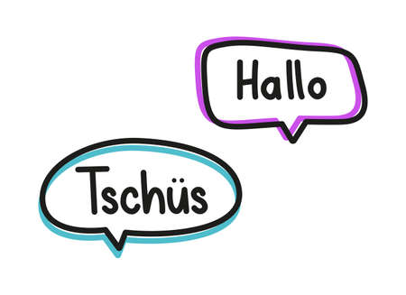 Hallo tschus. Handwritten lettering illustration. Black vector text in pink and blue neon speech bubbles. Simple outline style