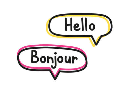 Hello bonjour. Handwritten lettering illustration. Black vector text in pink and yellow neon speech bubbles. Simple outline style