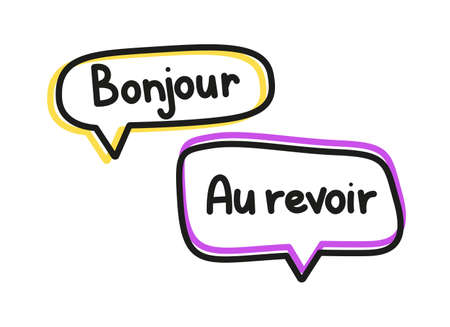 Bonjour au revoir. Handwritten lettering illustration. Black vector text in pink and yellow neon speech bubbles. Simple outline style