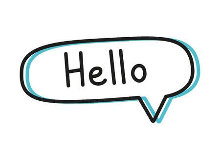 Hello. Handwritten lettering illustration. Black vector text in a blue neon speech bubble. Simple outline style Çizim