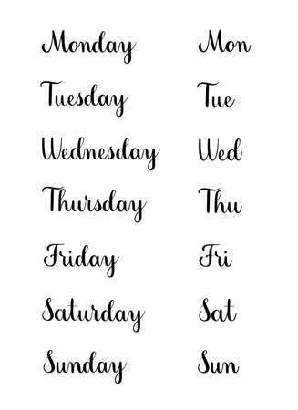 Set of handwritten days of the week. Black vector text elements isolated on white background. Calligraphy script style