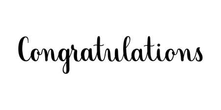 Congratulations phrase. Handwritten vector lettering illustration. Brush calligraphy style. Black inscription isolated on white background Vector Illustration