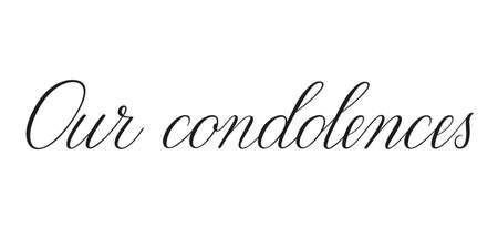 Our condolences. Handwritten black vector text on white background. Brush calligraphy style. Condolence message. Ilustración de vector
