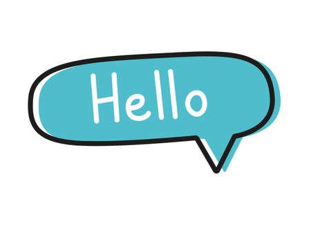 Hello. Handwritten lettering illustration. Black vector text in a blue neon speech bubble.