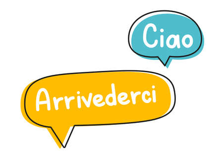 Ciao arrivederci. Handwritten lettering illustration. Black vector text in blue and yellow neon speech bubbles.