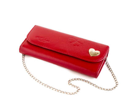 Red purse with chain on a white background