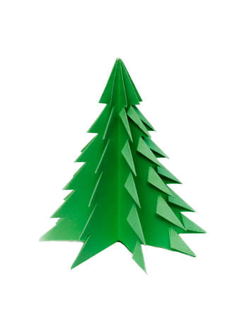 green tree, made of paper  origami photo