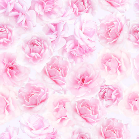 Plenty pink natural roses seamless background. Nostalgic roses endless pattern. photo