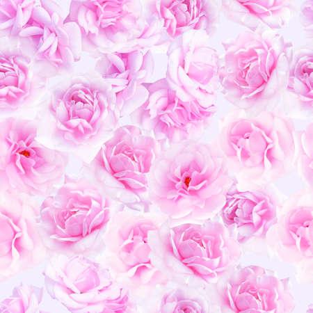 nostalgic: Plenty pink natural roses seamless background. Nostalgic roses endless pattern.