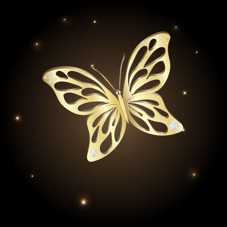 Gold Lace butterfly on brown background.  Vector illustration. Vector