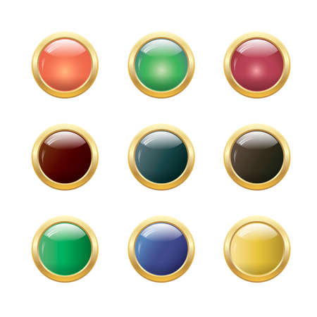 Set of glossy round buttons Vector