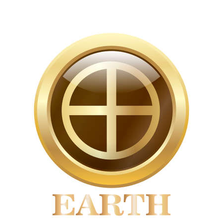 Round glossy round button of Earth illustration. Vector