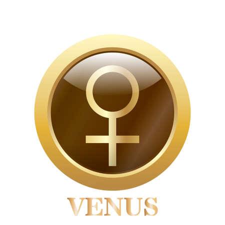 Round glossy round button of Venus illustration. Vector