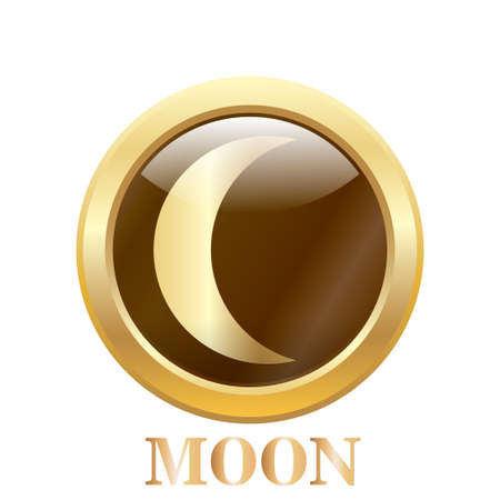 Round glossy round button of Moon illustration. Vector