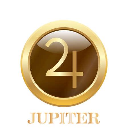 Round glossy round button of Jupiter illustration. Vector