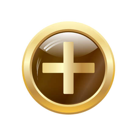 Round glossy round button of Medical cross Vector