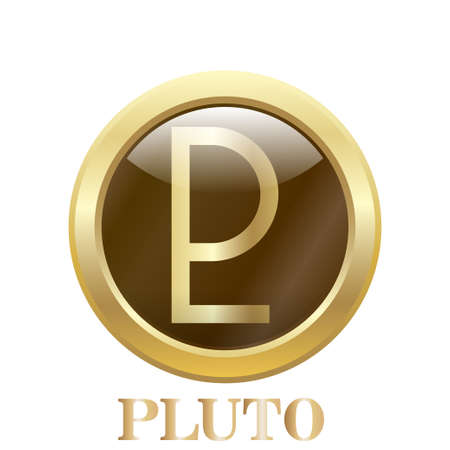 pluto: Round  glossy round button. Pluto. Vector illustration. Illustration