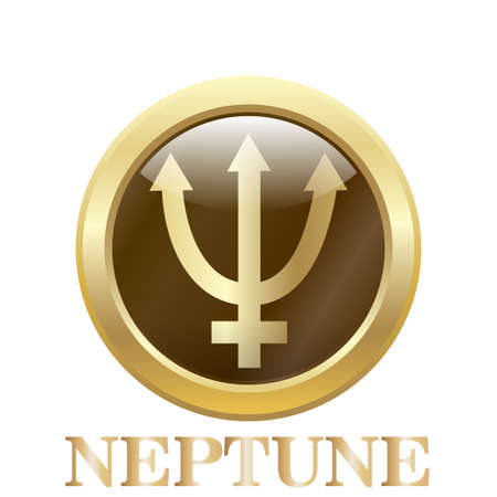 neptune: Round  glossy round button. Neptune. Vector illustration.