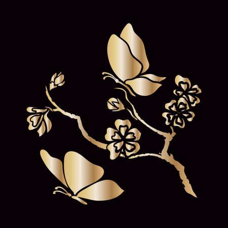 Ramoscello d'oro fiori sakura e farfalle. Illustrazione vettoriale