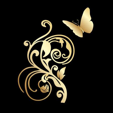 gold lace: Gold Lace butterfly on black background Illustration
