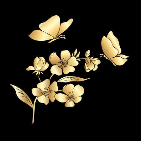 골드 나뭇 가지 사쿠라 꽃과 나비. 벡터 일러스트 레이 션 일러스트