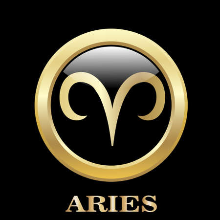 Aries zodiac sign in oval frame, vector Illustration. Pisces zodiac sign in circle frame, vector Illustration. Contour icon.