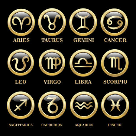 Set zodiac sign in oval frame, vector Illustration. Pisces zodiac sign in circle frame, vector Illustration. Contour icon.