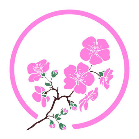 twig sakura blossoms in a circle. Vector illustration
