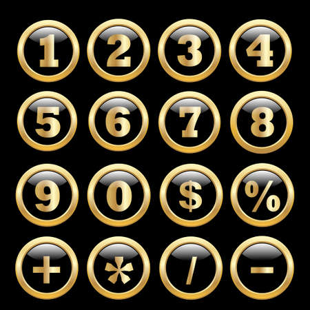 web 2 0: Round  glossy round button. Number set from 1 to 9. Vector illustration.