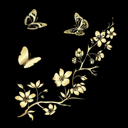 black and white image drawing: Gold twig sakura blossoms and butterflies. Vector illustration