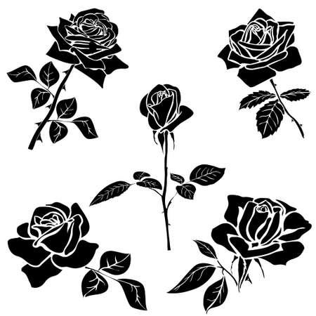 dessin noir et blanc: silhouette de rose isolé sur fond blanc. Vector illustration.