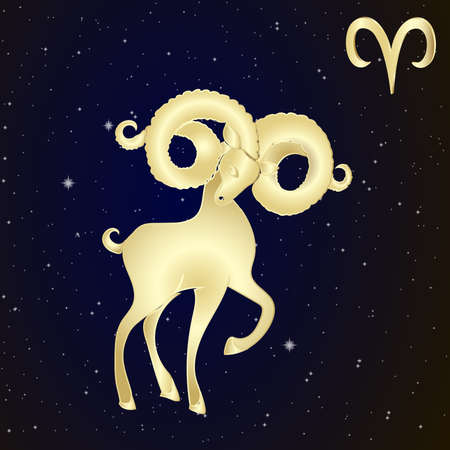 Sign of the zodiac Aries is the starry sky, vector Illustration.  Contour icon.