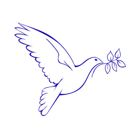 pigeons: Dove with branch. Symbol of peace. Vector illustration