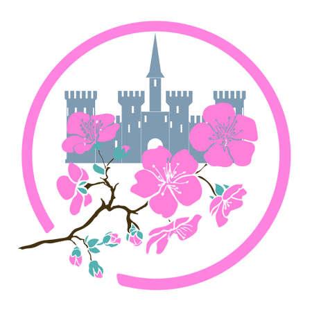 twig sakura blossoms and castle.  Vector