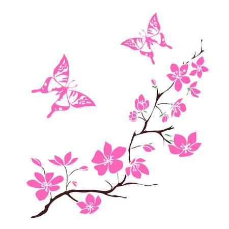 papillon dessin: brindille cerisiers en fleurs