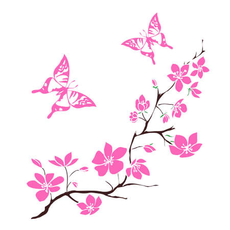 butterflies: twig cherry blossoms