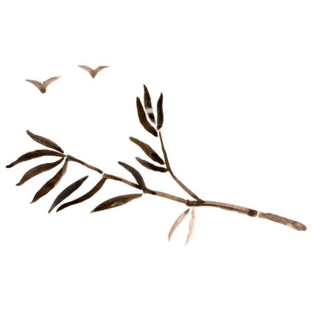 treelike: Bamboo branches isolated on the white background. Vectorization watercolor painting.