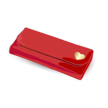 Pochette rosso con l'oro per le donne isolato su sfondo bianco. illustrazione vettoriale
