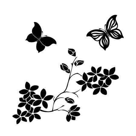 twig cherry blossoms and butterflies Ilustração