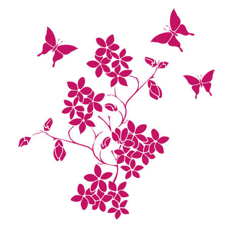 twig cherry blossoms and butterflies 向量圖像