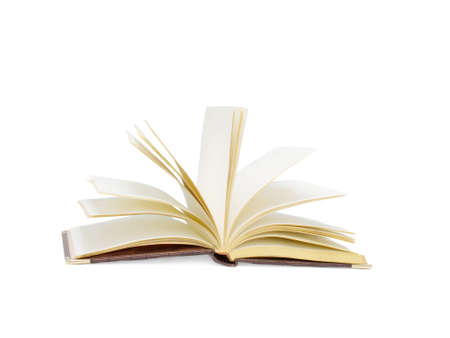 quantity: Open book isolated on white background