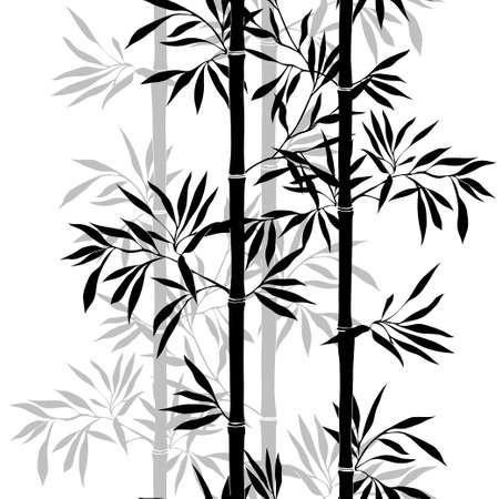 arboles blanco y negro: Patrón transparente. Bambú hoja de antecedentes. Textura inconsútil floral con las hojas. Ilustración vectorial Vectores