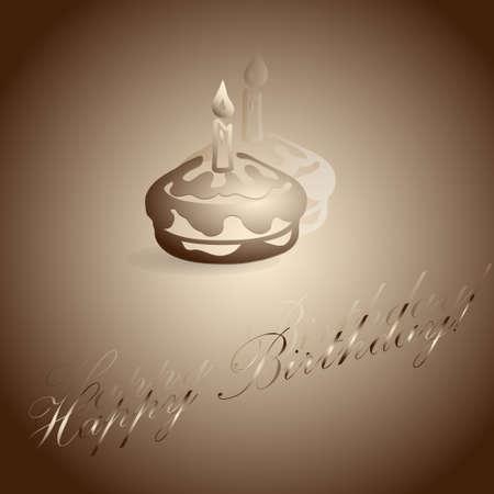 burning candle: Burning candle on the cake. Vector illustration
