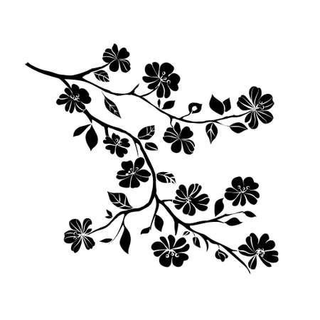 tree silhouettes: twig sakura blossoms. Vector illustration. Black Silhouette