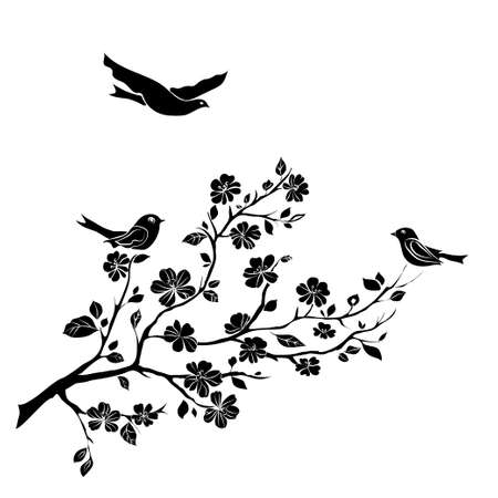 twig sakura blossoms and birds. Vector illustration. Black Silhouette