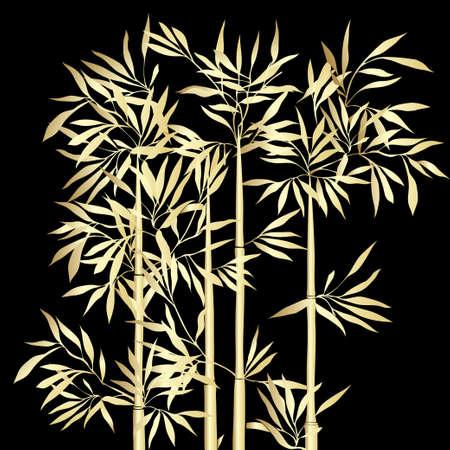 대나무의 상단. 검은 배경에 잎 황금 대나무입니다. 벡터 일러스트 레이 션