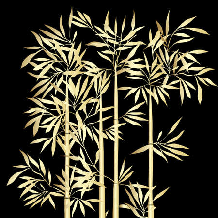 The top of the bamboo. Golden bamboo with leaves on black background. Vector illustration